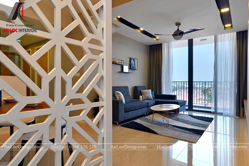 Thiết kế, thi công phòng khách sang trọng với bộ ghế sofa màu xanh