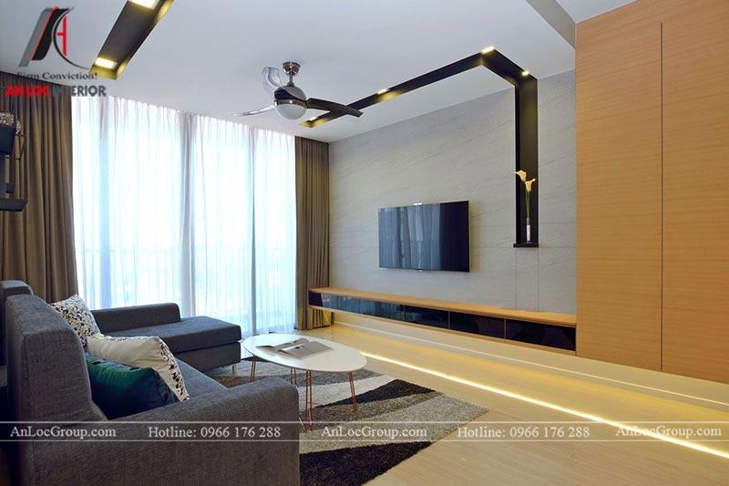 Ánh sáng tự nhiên giúp cho phòng khách căn hộ 80m2 tại Sunshine Boulevard luôn thông thoáng