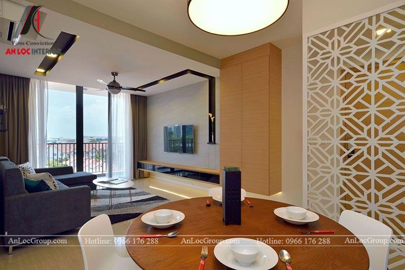 Hình ảnh không gian chung căn hộ góc nhìn từ khu vực bàn ăn