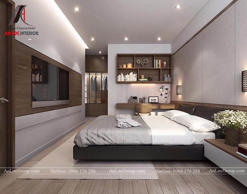 Phòng ngủ master biệt thự Thảo Điền Village có bố trí phòng thay đồ và phòng tắm