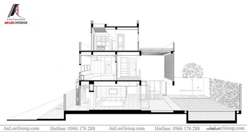 Hình ảnh mặt cắt thiết kế nội thất biệt thự hiện đại tại Thảo Điền Village - Ảnh 1