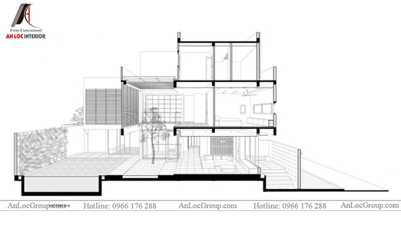Hình ảnh mặt cắt thiết kế nội thất biệt thự hiện đại tại Thảo Điền Village - Ảnh 2