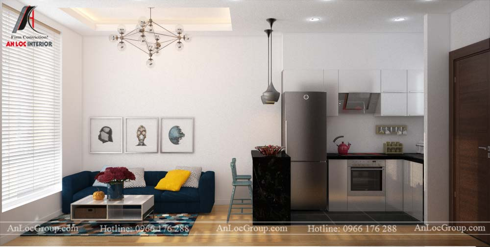 Thiết kế nội thất căn hộ nhỏ 45m2 tại Topaz Elite - Ảnh 4