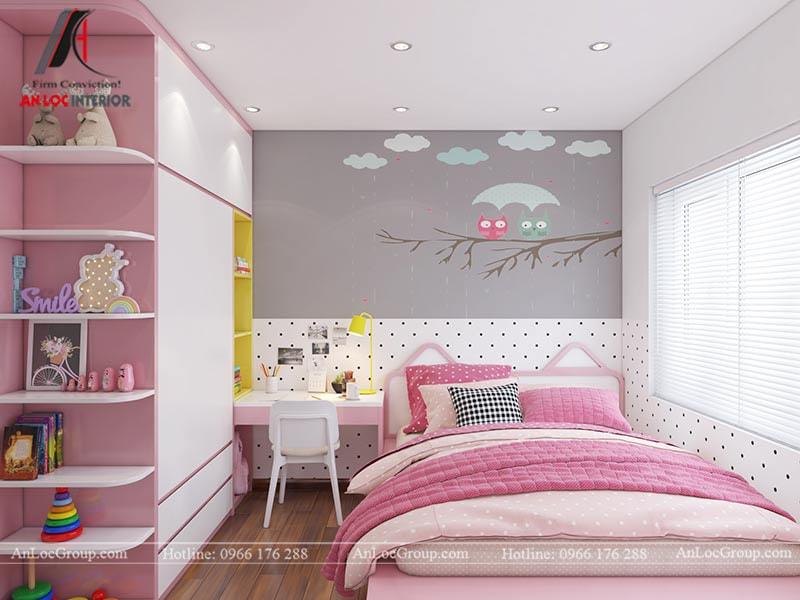 Thiết kế phòng ngủ cho bé gái - Mẫu 1