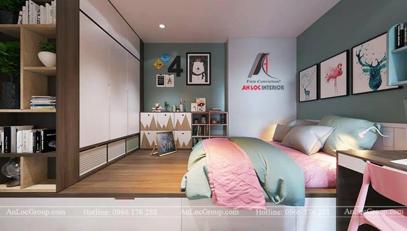 Thiết kế phòng ngủ cho bé gái - Mẫu 2