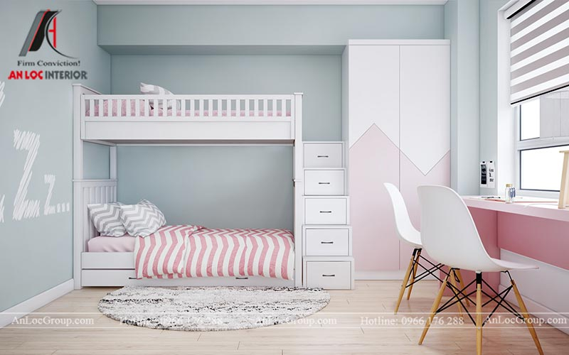 Thiết kế phòng ngủ cho bé gái - Mẫu 6