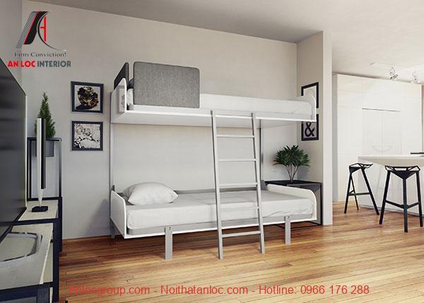 Mẫu 2 - Giường 2 tầng từ khung kim loại