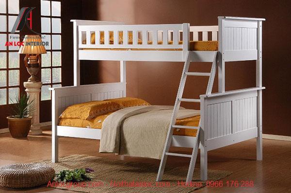 Mẫu 8 - Màu xám kết hợp với ga giường màu cam đậm tạo nên mẫu giường tầng tuyệt đẹp