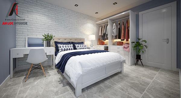 11. Giường ngủ màu trắng phù hợp với tổng thể không gian