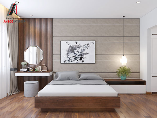16. Giường ngủ hiện đại với chất liệu gỗ công nghiệp màu nâu