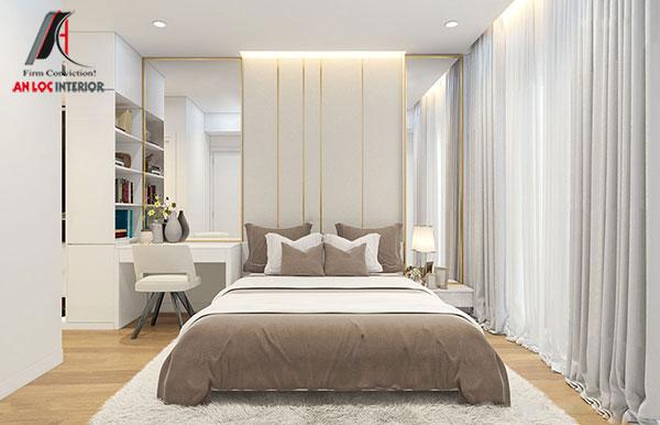2. Mẫu giường ngủ đôi với kích thước phù hợp với diện tích căn phòng