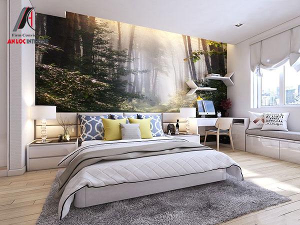 24. Bề mặt gỗ công nghiệp sáng bóng tạo nên giường ngủ sang trọng