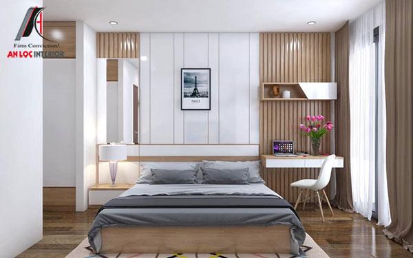 28. Giường ngủ gỗ công nghiệp kết hợp đồ nội thất hiện đại