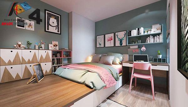 12. Mẫu giường ngủ từ gỗ công nghiệp rộng rãi