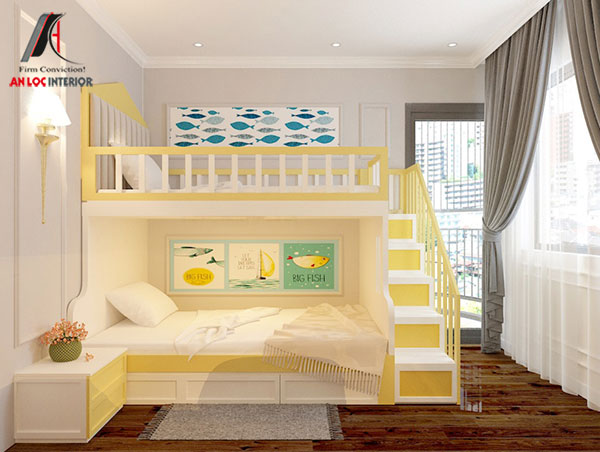 9. Mẫu thiết kế giường tầng ấn tượng cho 2 bé trai
