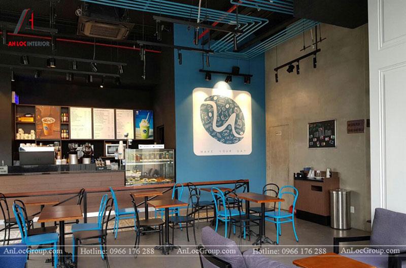 Thi công nội thất quán cafe 260m2 tại Vinhomes Tân Cảng - Ảnh 12