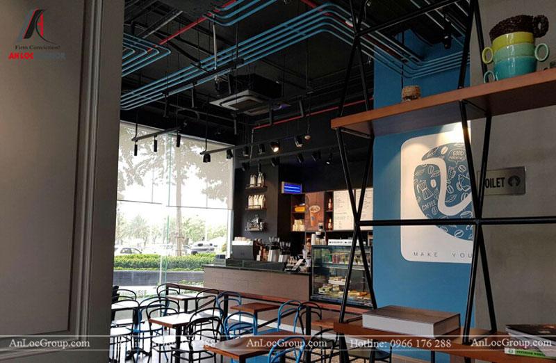 Thi công nội thất quán cafe 260m2 tại Vinhomes Tân Cảng - Ảnh 9