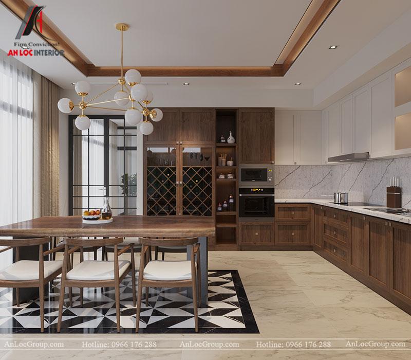 Chất liệu gỗ tự nhiên được sử dụng cho tủ bếp, bàn ăn, những chiếc ghế trong phòng bếp