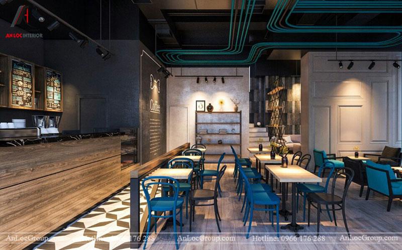 Thiết kế nội thất quán cafe 260m2 tại Vinhomes Tân Cảng - Ảnh 1