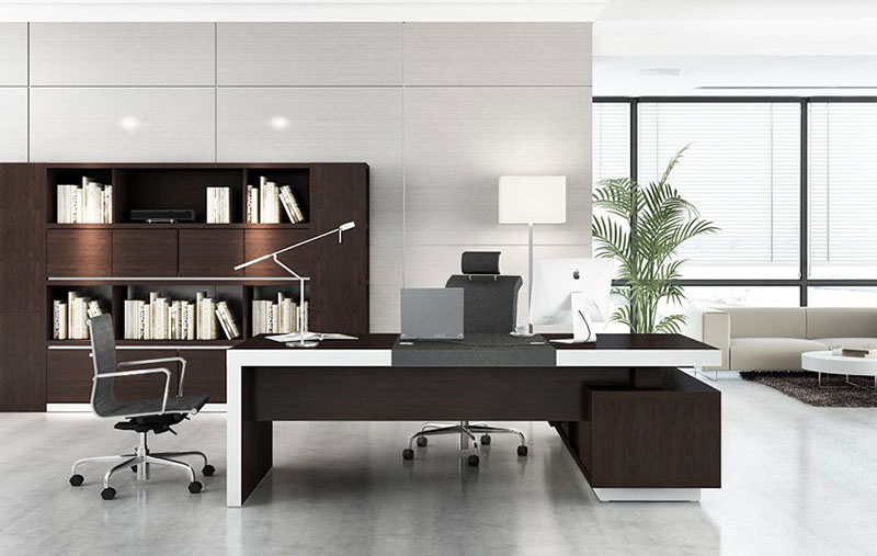 Sự kết hợp của màu trắng và nâu tạo nên văn phòng hiện đại