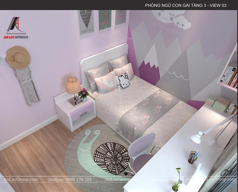Các họa tiết trang trí đơn giản mang đến không gian đầy nữ tính trong phòng ngủ