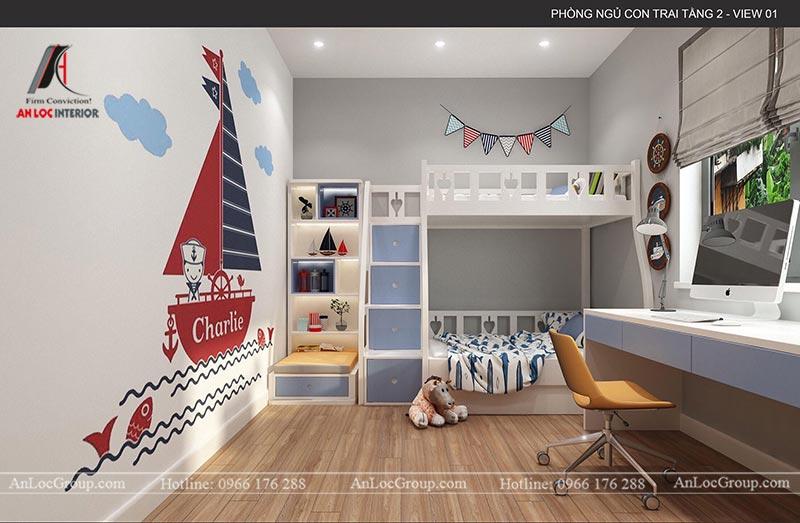 Nội thất phòng ngủ bé trai trong nhà phố tại Hà Nam