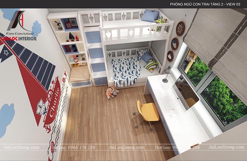 Không gian nội thất phòng ngủ bé được bố trí gọn gàng, khoa học