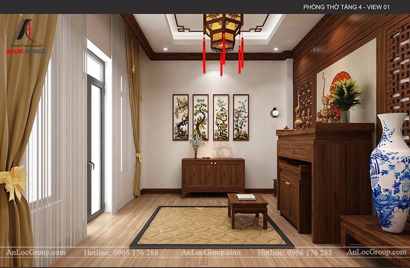 Nội thất phòng thờ trang nghiêm đặt tại tầng 4 nhà phố