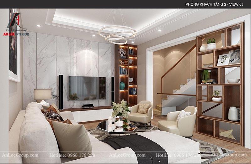 Mẫu thiết kế nội thất nhà phố 4 tầng hiện đại tại Hà Nam - Phòng khách 3