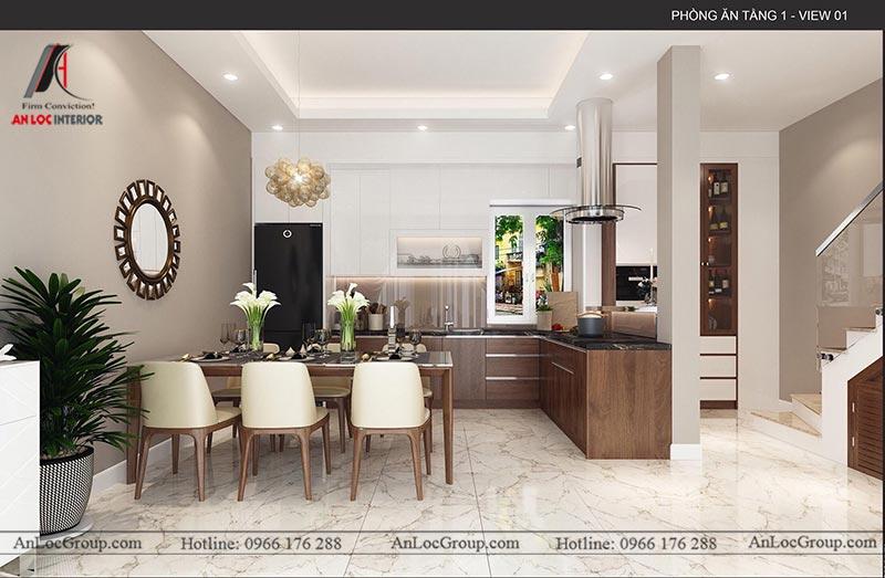 Thiết kế nội thất phòng bếp nhà phố tại Hà Nam