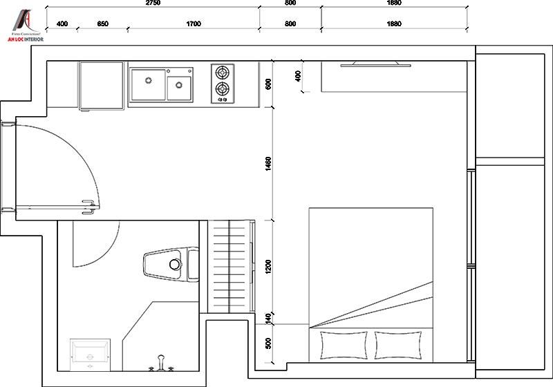 Bản vẽ thiết kế căn hộ mini cho thuê 25m2 tại Vinhomes Green Bay
