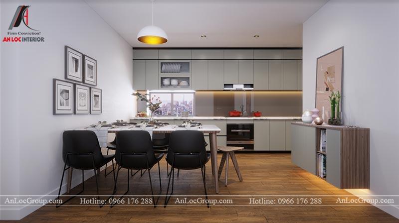 Thiết kế nội thất phòng bếp chung cư Ngoại Giao Đoàn 84m2