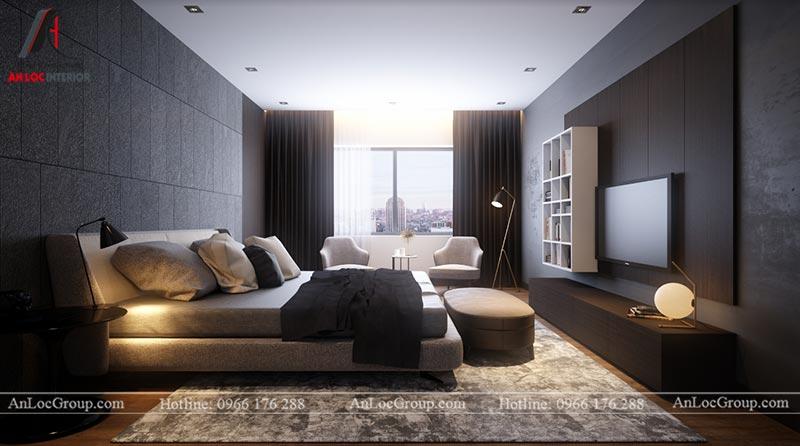 Thiết kế nội thất phòng ngủ master chung cư Ngoại Giao Đoàn 84m2