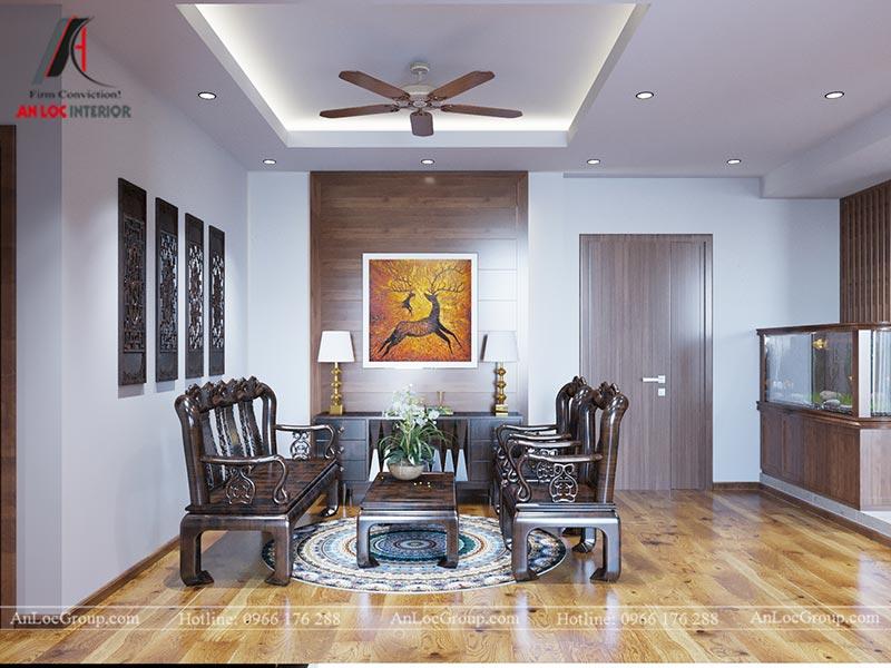 Nội thất phòng khách căn hộ 71m2 tại Vinhomes Green Bay