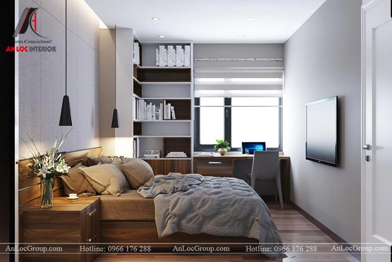 Nội thất phòng ngủ master đẹp tại chung cư Vinhomes Green Bay