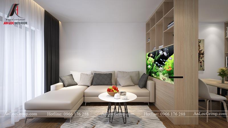 Nội thất phòng khách liền bếp căn hộ 66m2 tại Green Stars view 1