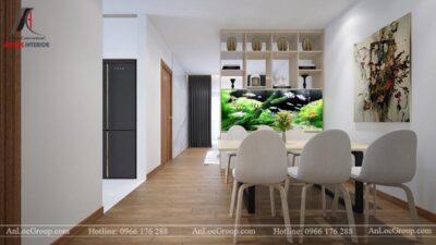 Nội thất phòng khách liền bếp căn hộ 66m2 tại Green Stars view 2