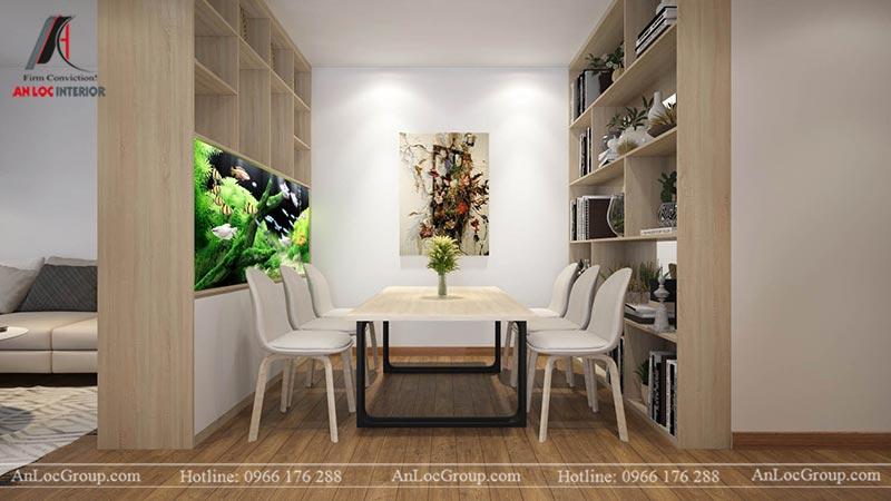 Nội thất phòng khách liền bếp căn hộ 66m2 tại Green Stars view 3