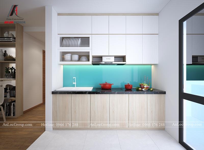 Nội thất phòng khách liền bếp căn hộ 66m2 tại Green Stars view 4