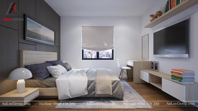 Nội thất phòng ngủ master căn hộ 66m2 tại Green Stars view 2
