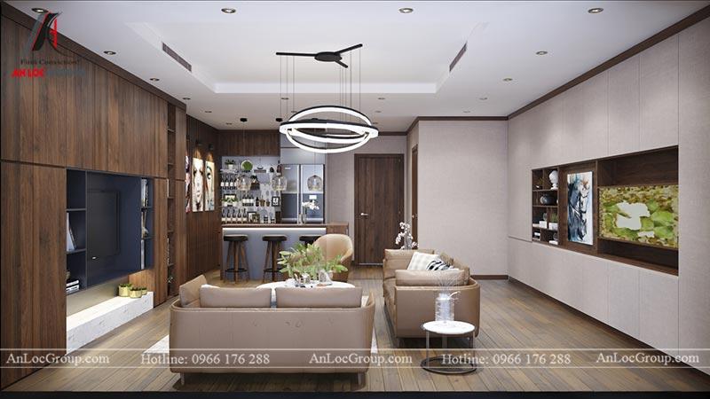 Phòng khách chung cư Home City Trung Kính - View 1