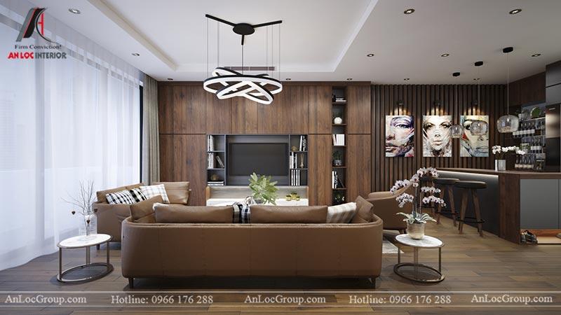Phòng khách chung cư Home City Trung Kính - View 2