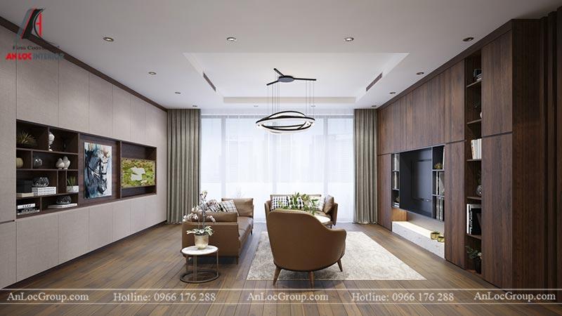 Phòng khách chung cư Home City Trung Kính - View 3