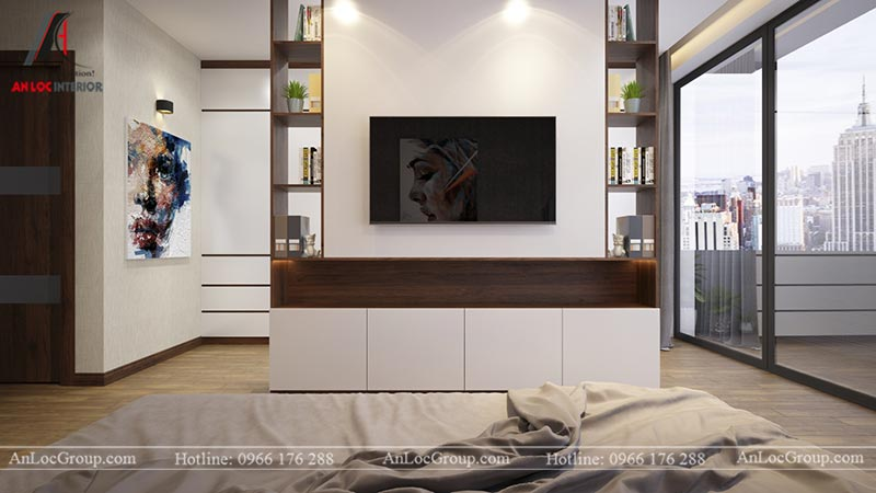Bức vách bằng gỗ trong phòng ngủ master