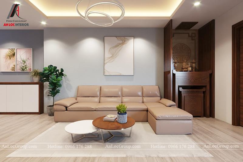 Thiết kế phòng khách chung cư 117m2 tại Sun Square - Ảnh 1