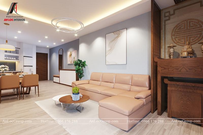 Thiết kế phòng khách chung cư 117m2 tại Sun Square - Ảnh 3