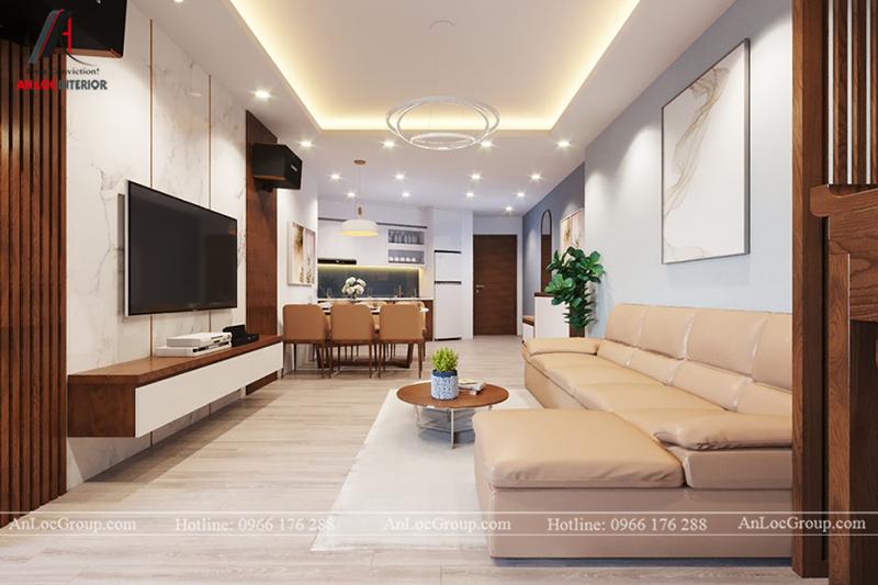Thiết kế phòng khách chung cư 117m2 tại Sun Square - Ảnh 4