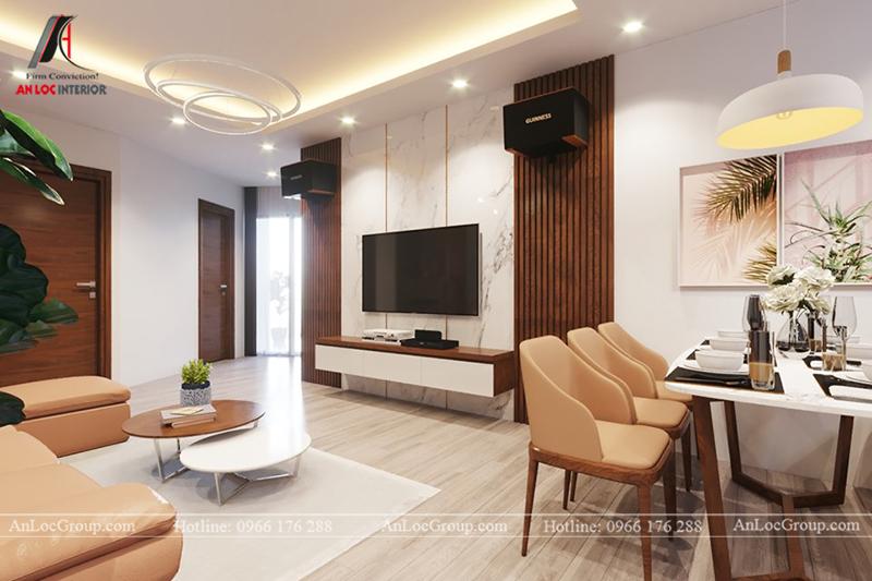 Thiết kế phòng khách chung cư 117m2 tại Sun Square - Ảnh 5