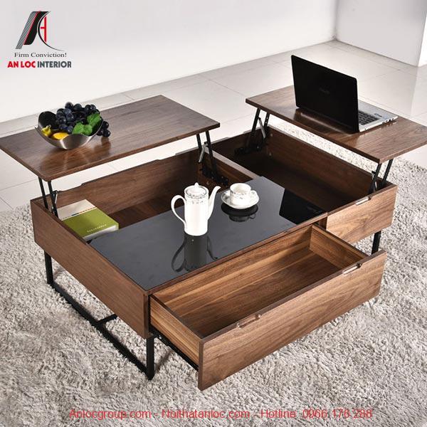 Bàn trà gỗ gấp gọn cho phòng khách thêm tiện lợi