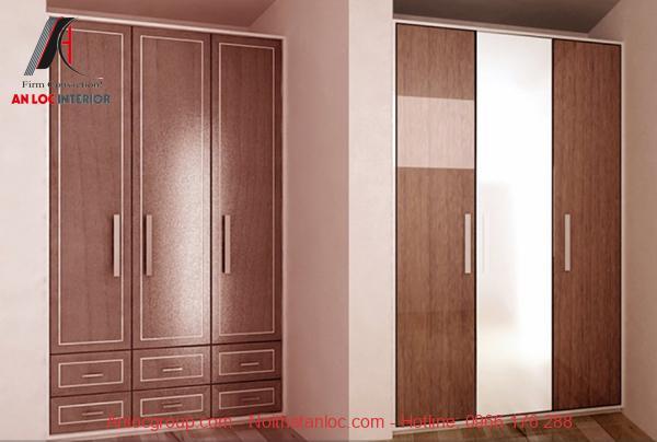 Mẫu 13 - Tủ quần áo 3 ngăn bằng gỗ HDF